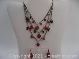 Sterling Silver Red Dyed Jasper and Garnet Necklace & Earring Set