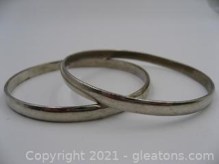 Set of 2 Sterling Silver Bangle Bracelets