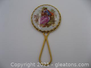 Vintage Limoges Porcelain Hand Mirror