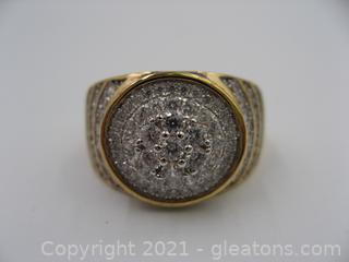 Men's Pave CZ Gold Plated Ring