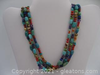 Colorful 3 Strand Beaded Necklace