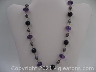 Amethyst and Dyed Pearl Necklace