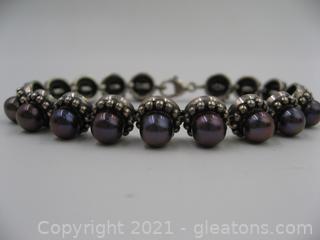 Sterling Silver Dyed Black Pearl Bracelet