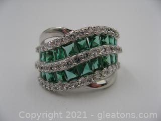 Imitation Emerald and White Sapphire Ring