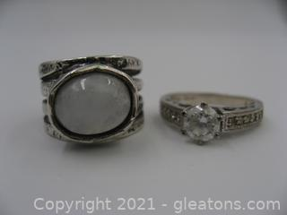 2 Sterling Silver Rings (Moonstone & CZ)