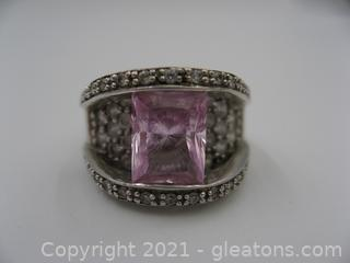 Sterling Silver Imitation Pink Sapphire and CZ Ring