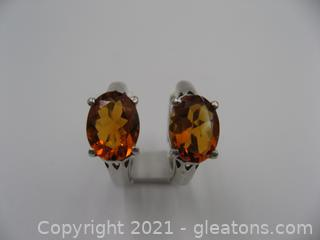 Sterling Silver Citrine Hoop Earrings