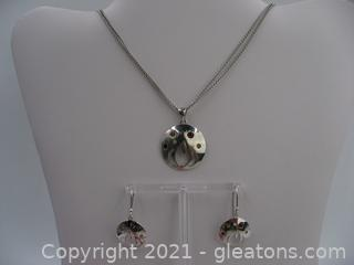 Garnet and Citrine Necklace and Earring Set