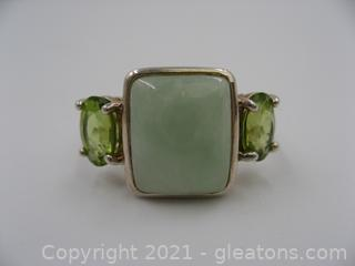 Sterling Silver Jade & Peridot Ring