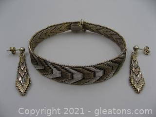 Woven Silver Bracelet and Earring Set