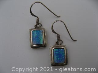 Sterling Silver Synthetic Opal Earrings