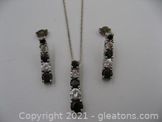 Sterling Silver Onyx and CZ Necklace and Earring Set