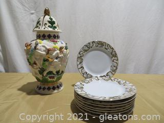 """Lot of 8 American Atelier Heavenly Hosts 8"""" Dessert/Salad Plates and Handpainted Cherubs Covered Urn"""