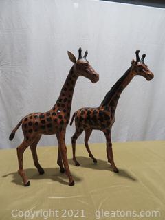 Stately Handmade Paper Mache Giraffes