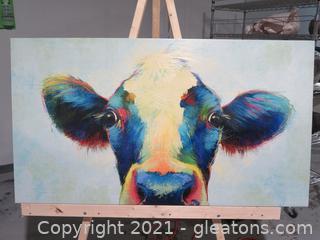 Charming Kirklands Cow on Canvas