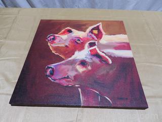 Striking Diane Whitehead Canvas Pigs Print Canvas Wood
