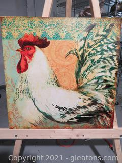 """""""Bohemian Rooster On Teal"""" By Susan Winget Canvas Wall Art"""