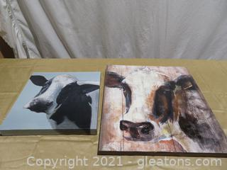 Lot of 2 Adorable Cow Pictures