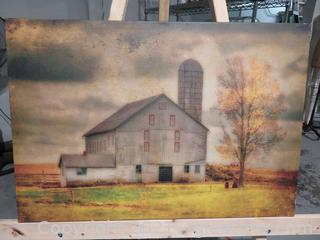 """Barn in Stormy Weather on Wrapped Canvas and """"Every Cloud"""" Metal Sign"""
