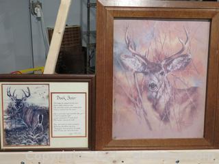 Authentic Wood Framed Buck Picture Vintage and Buck Fever Framed Poem