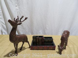 Book Desktop Office Caddy and Set of 2 Heavy Brass Deer