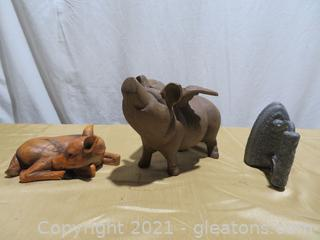 Lot of 3: Charming Cast Iron Flying Pig, Vintage Iron, Resin Deer