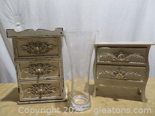 Lot of Two Mini Chests and Winchester Rifle Vase