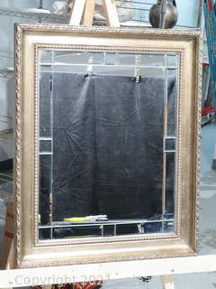 Large Silver Mirror with Beveled Mirror Trim