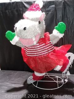 Happy Ice Skating Hippo Outside Christmas Decor
