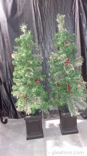 Pair of Small 4' Christmas Trees