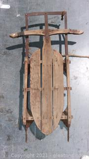 Vintage Wooden Sled With Metal Runners