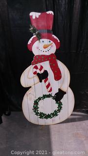 Jolly Standing Wooden Snowman