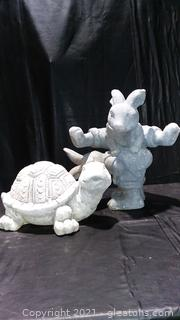 Turtle and 2 Hares Resin Garden Statues