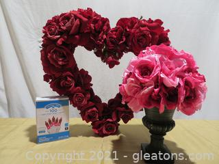 Lovely Heart Shaped Rose Wreath, Flowers and Pink Mini Lights