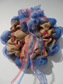 """Very Large (28"""") Red, White and Blue Burlap Wreath"""