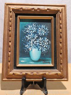 Lovely Small Oil Painting Blue Flowers