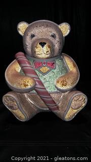 Cute Dept 56 Christmas Teddy Bear Cookie Jar