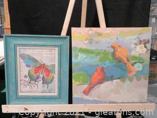 Lot of 2 Vibrant Blue Pieces of Art