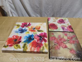 Lot of 3 Canvas Flower Paintings