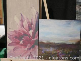 Lot of 2 Large Canvas Paintings