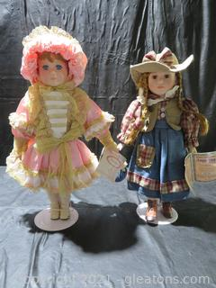 Lot of Two Beautiful Porcelain Dolls on Stands