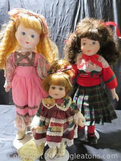 Lot of 3 Porcelain Dolls on Stands