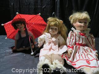 Lot of 3 Adorable Porcelain Dolls