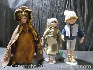 Lot of 3 Porcelain Dolls
