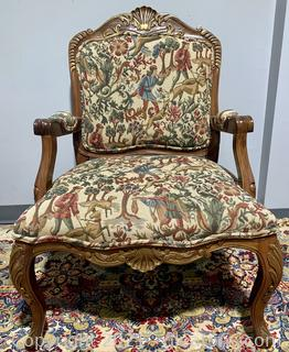 Grand French Carved Tapestry Arm Chair