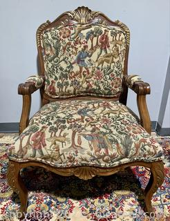 Grand French Carved Tapestry Armchair