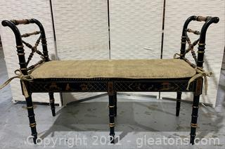 Asian Cane Bottom Bench with Cushion