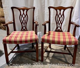 2 Chippendale Mahogany Armchairs