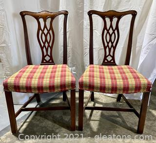 2 Chippendale Mahogany Dining Chairs