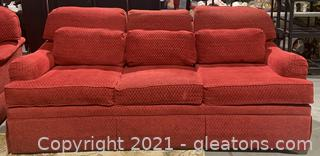 Traditional Persimmon Red Chenille Sofa